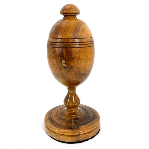 Vintage Handmade Wooden Treen Goblet with Lid